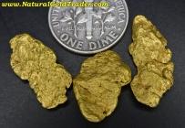 7.55 Grams (3) Alaska Placer Gold Nuggets