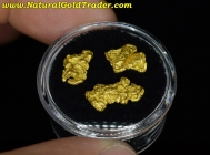 2.98 Grams (3) Nevada Placer Gold Nuggets