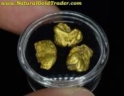 7.31 Grams (3) Alaska Placer Gold Nuggets