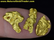 3.43 Grams (3) Australia Placer Gold Nuggets