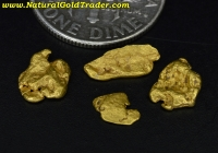 1.29 Grams (4) California Placer Gold Nuggets