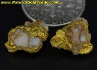 3.71 Grams (2) Mexico Gold & Quartz Specimens