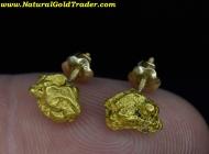 2.65 Grams Alaska Placer Gold Nugget Earrings