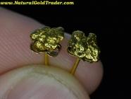 1.01 Gram Alaska Gold Nugget Stud Earrings
