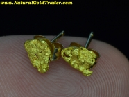.95 Grams Alaska Gold Nugget Stud Earrings