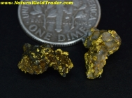 1.42 Grams (2) El Dorado California Gold & Quartz