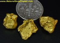 12.39 Grams (3) Baker Oregon Gold Nuggets