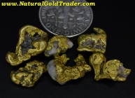 11.54 Grams (6) Yukon Gold & Quartz Nuggets